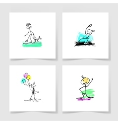 Set of four marker hand drawing sketch doodle vector