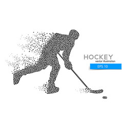 Silhouette of a hockey player from triangles vector