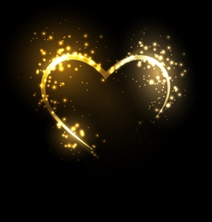 Sparkling heart on black vector