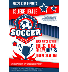 Sport match poster with soccer ball badge vector