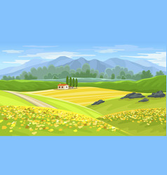 summer beautiful landscape with farmhouse and vector image