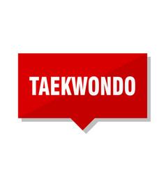 Taekwondo red tag vector