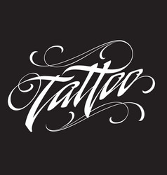 Tattoo shop lettering with swirls vector