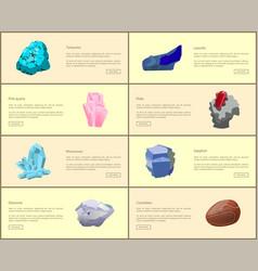 Turquoise carnelian lazurite quartz ruby diamond vector
