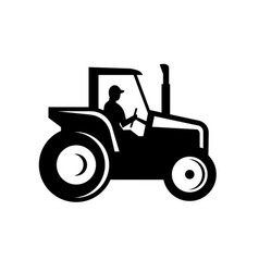 Vintage farm tractor side view silhouette black vector