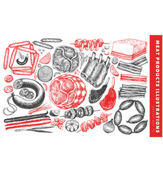 Vintage meat products set hand drawn ham sausages vector
