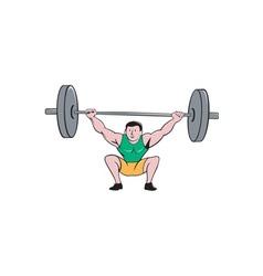 Weightlifter deadlift lifting weights cartoon vector