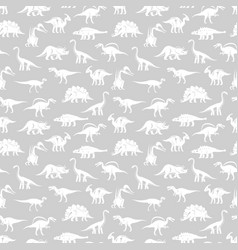 White silhouettes different dinosaurus vector
