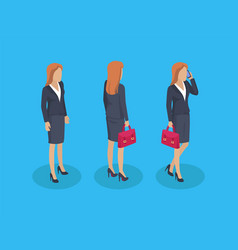 woman businesslady icons set vector image