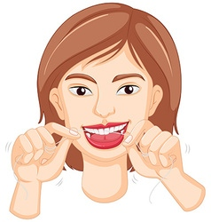 Woman flossing the teeth vector image