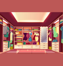 womans walk-in closet interior cartoon vector image