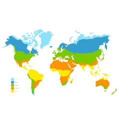 World map with climate zone vector