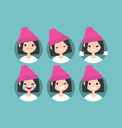 young girl wearing pink beanie profile pics set vector image