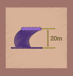 Flat shading style icon wave height vector