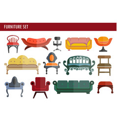 furniture sofa couch chair and armchair home room vector image vector image