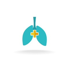 Lungs medical logo with rounded cross vector image vector image