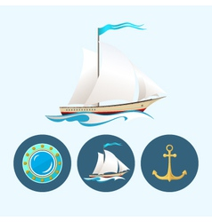 Set icons with sailing vessel anchor porthole vector image vector image