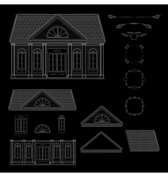 set of isolated line details retro style vector image vector image