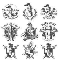 Set of monochrome knights emblems vector image