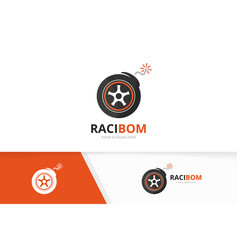 wheel and bomb logo combination tire and vector image vector image