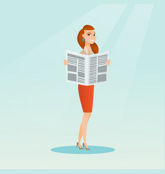 woman reading a newspaper vector image vector image