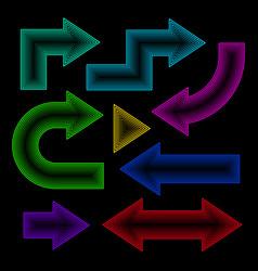 arrow set neon effect vector image vector image
