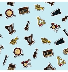 Colored musical instruments pattern vector image