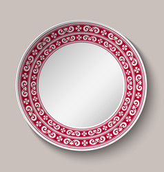 decorative dish with red and white circular vector image