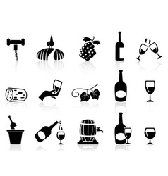 grape wine icons set vector image vector image