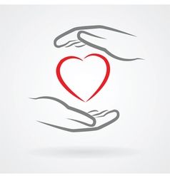 hands and heart symbol vector image vector image