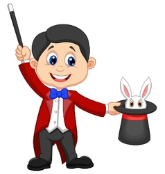 Magician cartoon pulling out a rabbit from his top vector