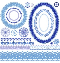 Set of blue Christmas frames vector image