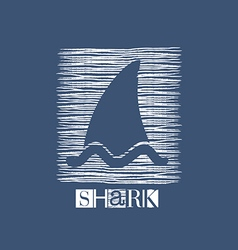 shark icon in white on blue vector image
