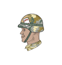 african american us army soldier helmet playing vector image vector image