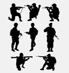 Army military training action silhouette vector image vector image