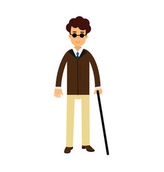 blind young man in dark glasses and walking stick vector image