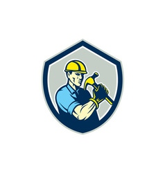 Builder Carpenter Holding Hammer Shield Retro vector image