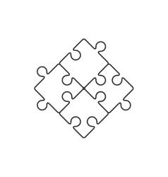 Four piece puzzle line icon vector image vector image