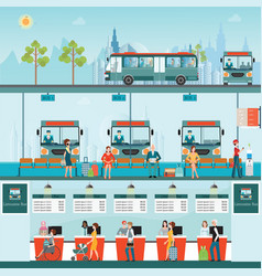 set of bus limousine with people buying ticket at vector image vector image