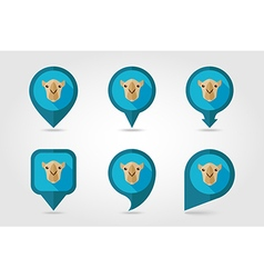 Camel flat pin map icon Animal head symbol vector image vector image