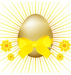 Golden Easter egg with ribbon and bow vector image vector image