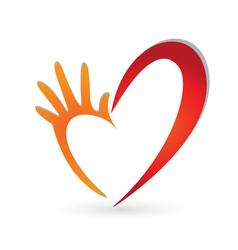 Hand heart shape logo vector image