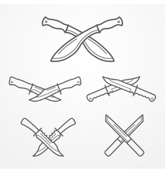 Hunter crossed knife logo vector