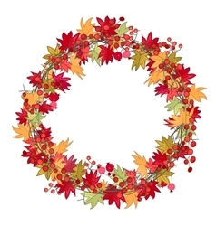 Round season wreath with autumn leaves and berries vector image vector image