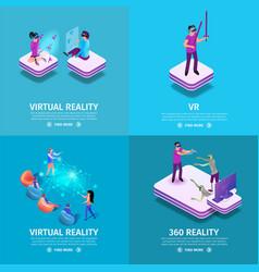 360 virtual reality square banners set gaming vector image