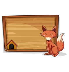 A fox beside an empty board vector image
