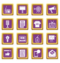 advertisement icons set purple vector image