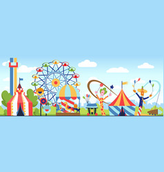 Amusement park fun park theme kids vector
