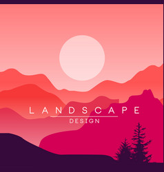 beautiful peaceful mountain landscape red and vector image