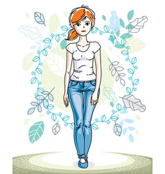 beautiful stylish young red-haired woman posing vector image